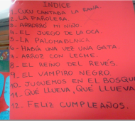 Lista de canciones en el marco del Proyecto Cancionero.